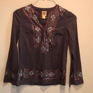 Tory Burch sequin Embellished Tunic Brown Size 8
